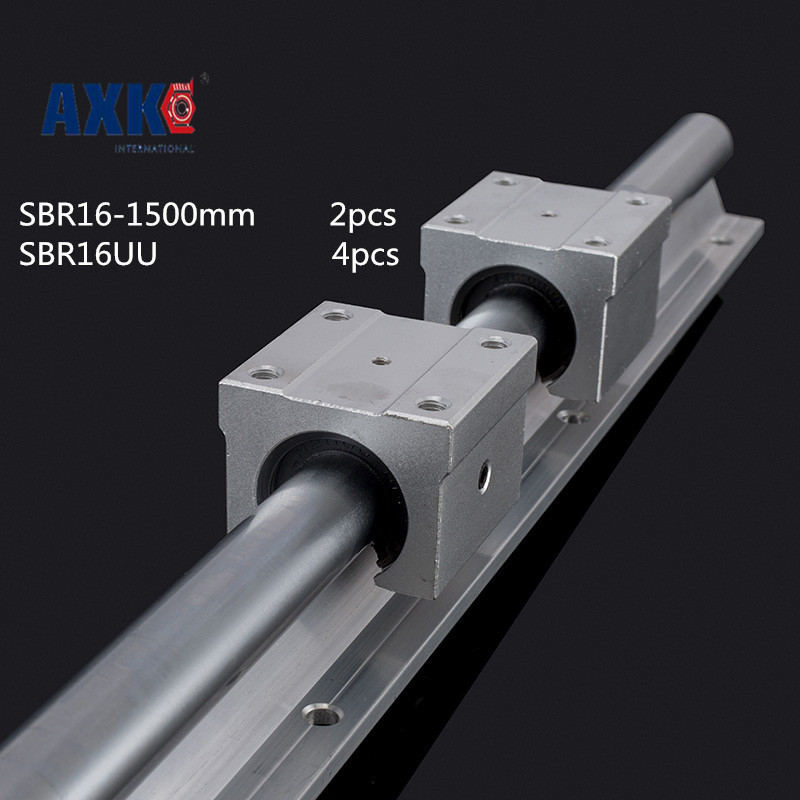 Axk 2 X Sbr16 L = 1500mm Linear Bearing Supported Rails +4 Pcs Sbr16uu Linear Guides Bearing Blocks For Cnc 2pcs sbr25 l1500mm linear guides 4pcs sbr25uu linear blocks for cnc