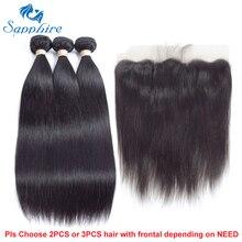 Сапфир прямо Реми Человеческие Волосы Связки с Кружево фасады 1B # Цвет для волос Salon соотношение длинные волосы РСТ 15% свободная часть