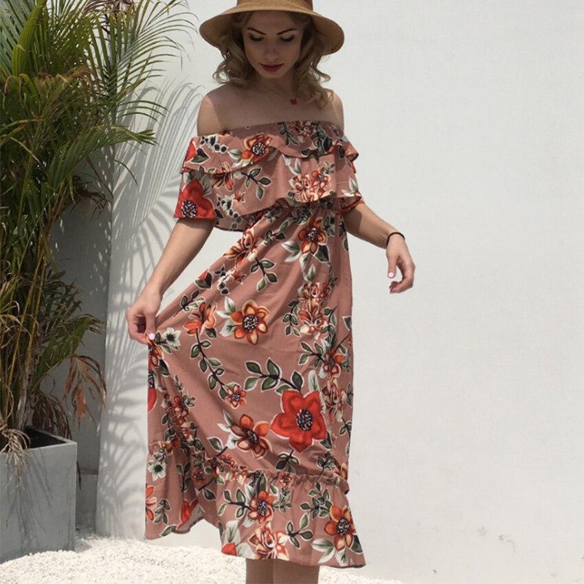 6970c819abd5ff À D'été Robe De Maxi Floral Mode Robes Style Fleur Boho Off Épaule ...