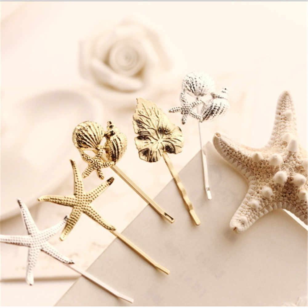 1PCS Modern style Women Metal Star Shell Conch starfish Side Hairclip Pin Barrette Fashion Hair Accessory free shipping