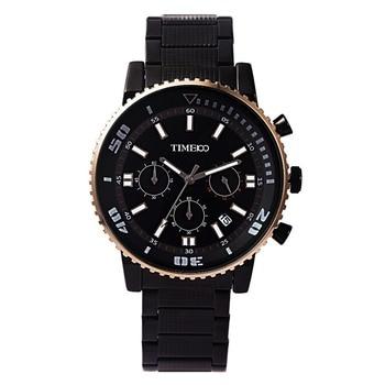TIME100 Men's Metal Sport Watch Stainless Steel Strap Three Eye Auto Date Waterproof Quartz Hand Wrist Watches For Men Clock