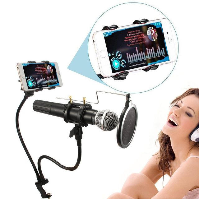 New Creative Microphone Mic Phone Dual Stand Holder Mount for Karaoke MV Recording For Studio Free Shipping