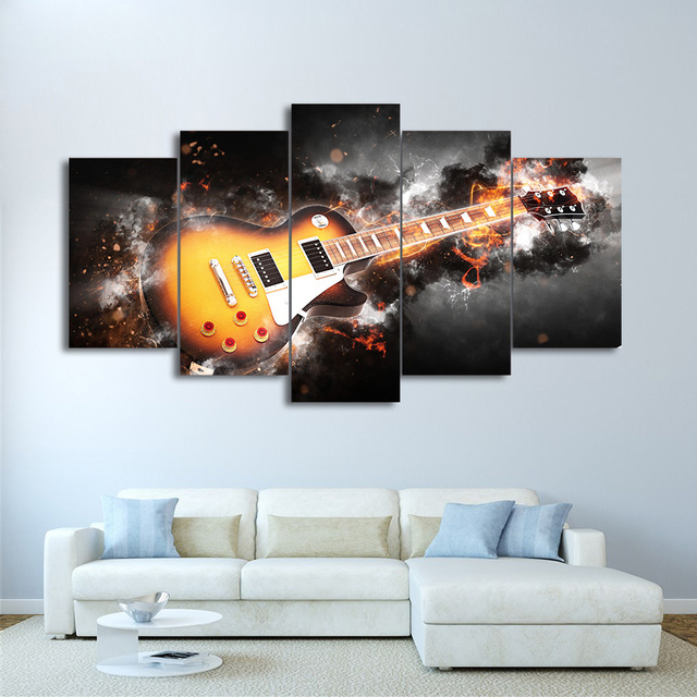 HD Printed Modular Wall Art Abstract Lightning Poster Frame 5 Pieces Guitar Large Canvas Painting For Living Room Home Decor