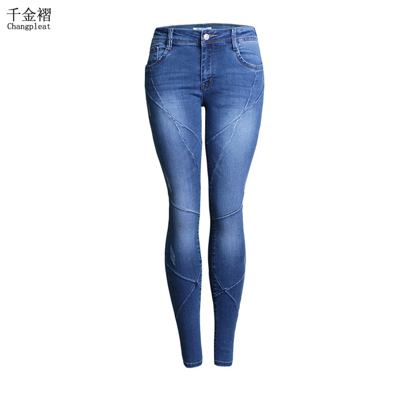 ФОТО Fashion Elastic Jeans For Women With Low Waist Slim Washed Denim Women's Trousers Cotton Full-length Pencil Pants Women's Jeans