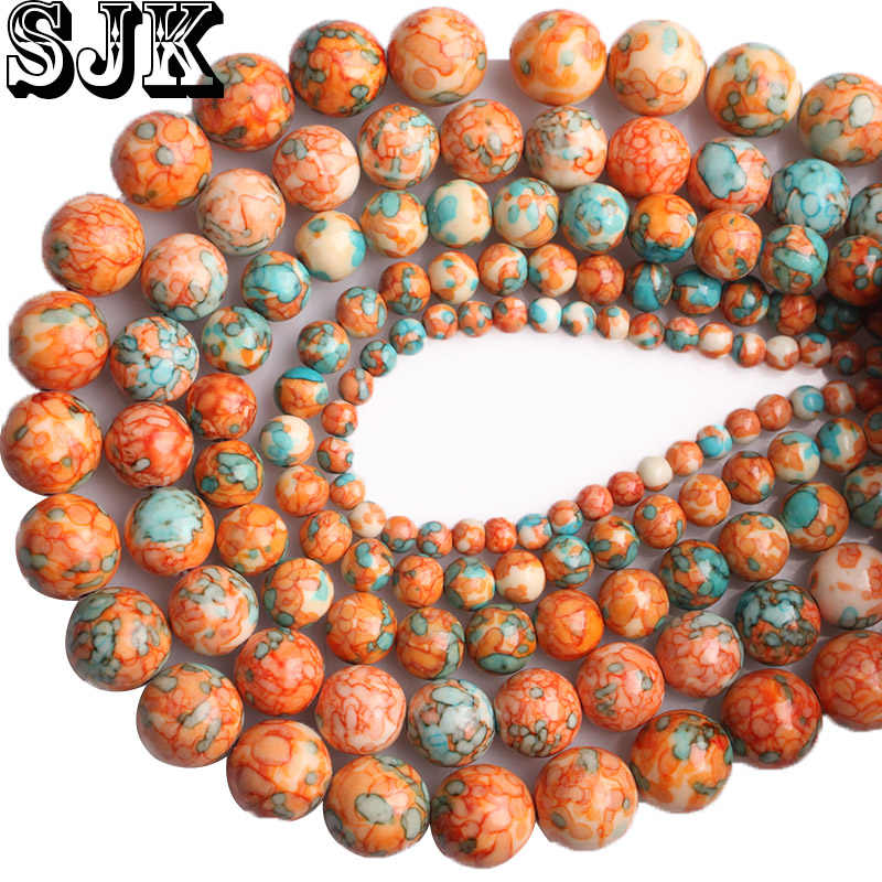 Natural Orange Rainbow Stone Green Spot Round Loose Beads Diy Necklace Bracelet Earring Charms Beads Handmade Jewelry Making