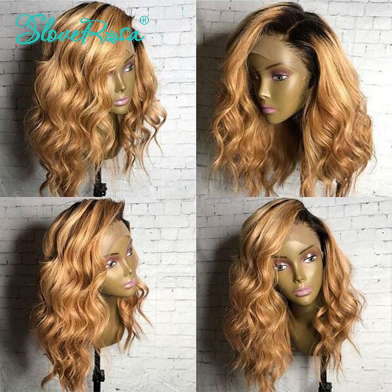 Ombre Color T1b 27 Blonde Lace Front Human Hair Wigs Dark Roots Brazilian Remy Body Wave