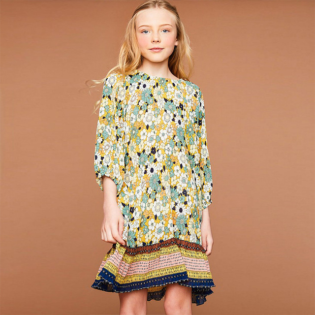 922acef53b Beautiful Girls BOHO Dress Autumn Floral Dresses With Three Quarter Puff  Sleeve Clothes Free Shipping