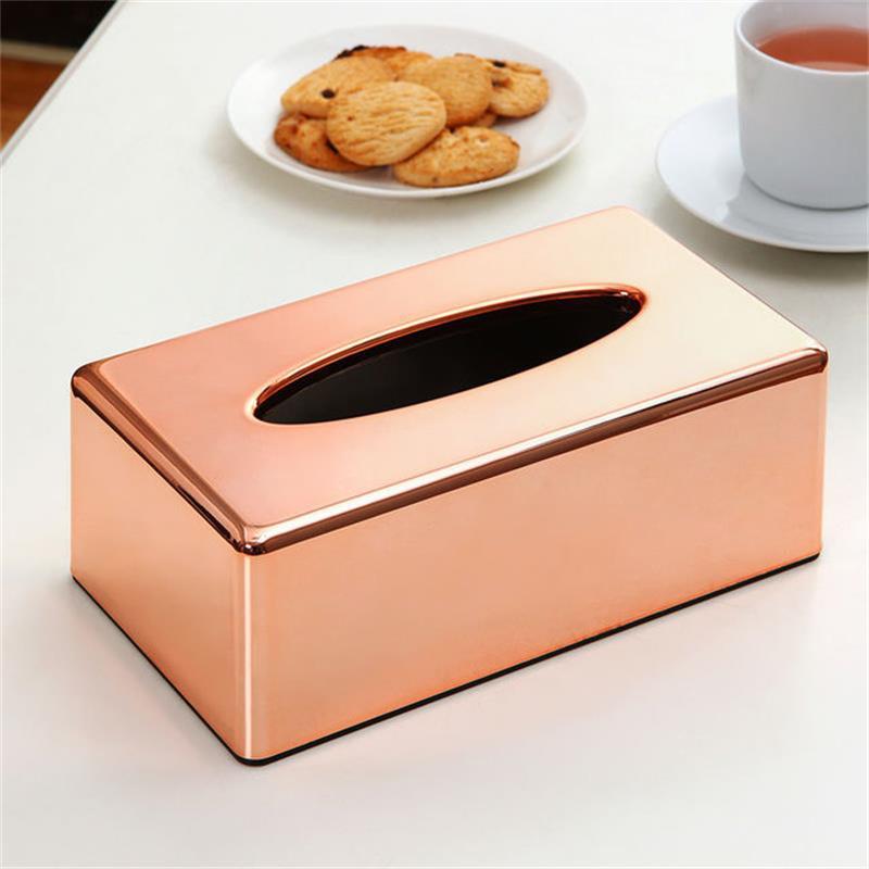 ABS placage Rose or boîte à mouchoirs salon maison cuisine bureau papier toilette serviettes titulaire