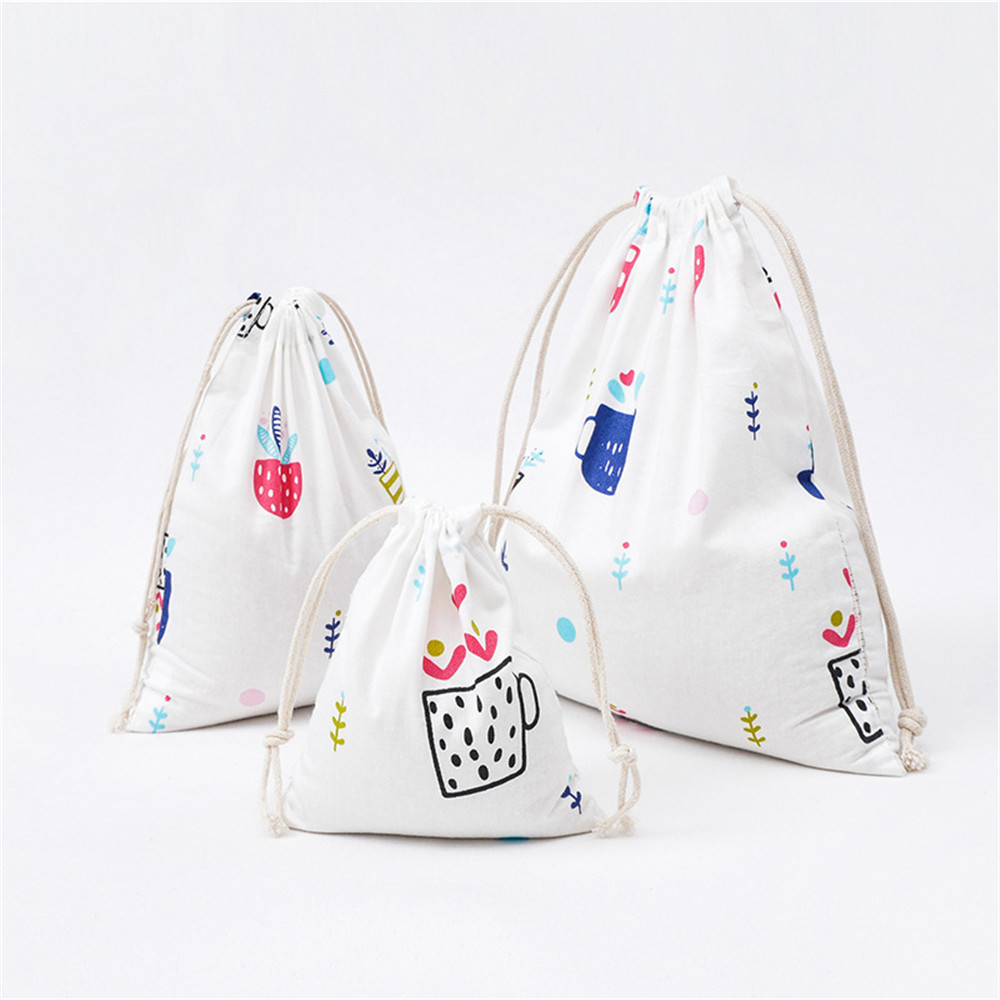YILE 1pc Cotton Drawstring Pouch Party Gift Bag Print Plant Pot Culture White Base SN312 W