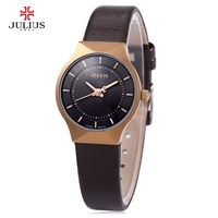 2016 Julius Watches Female Quartz Watch Round Dial Leather Watchband Wrist Watch Relogio Feminino Montre Ultrathin