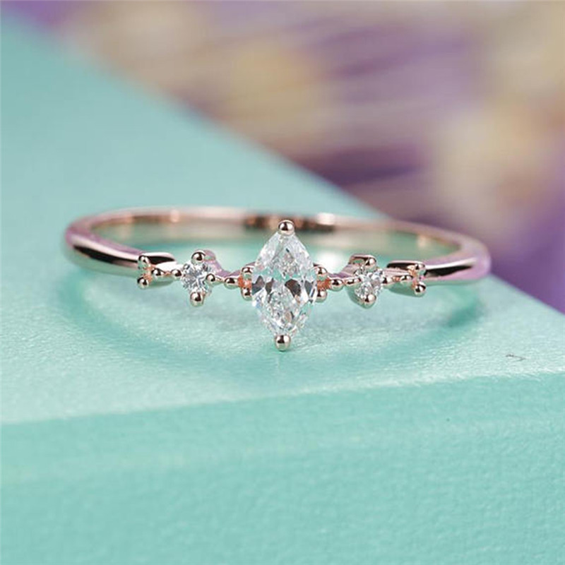 ROMAD Marquise Cut Engagement Ring for Women Three Stone Clu