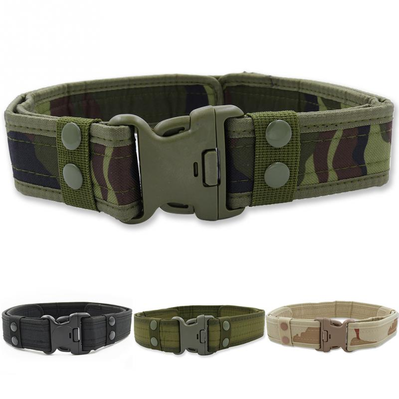 Tactical Military Canvas Belt Men Outdoor Army Practical Camouflage Waistband with Plastic Buckle Military Training Equipment