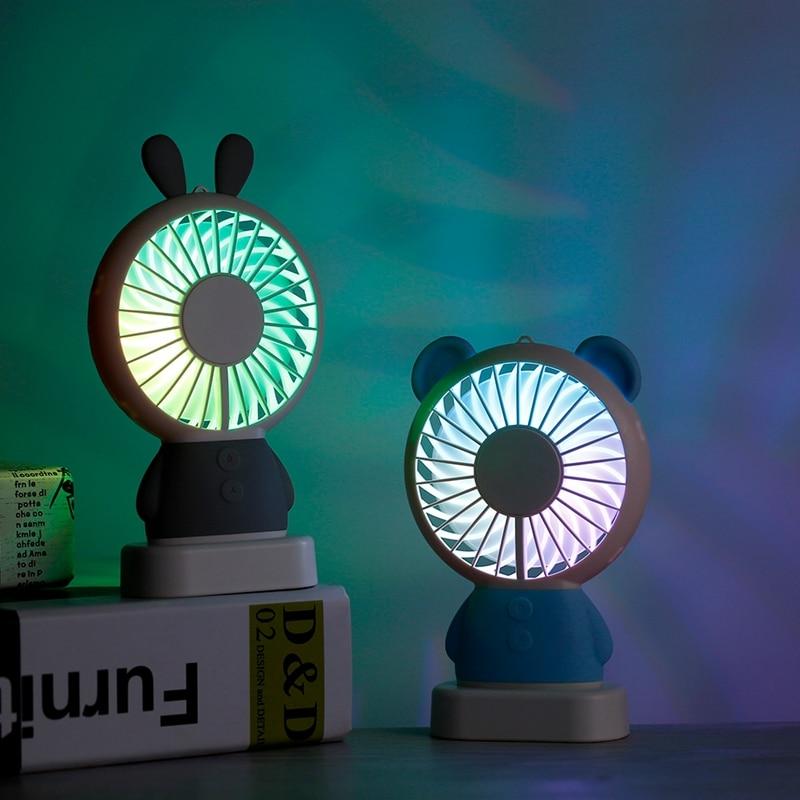 Household Appliances Punctual Portable Handheld Fan Summer Home Small Fan Cute Cartoon Bear Usb Charging Fan Study Table Lamp Fan