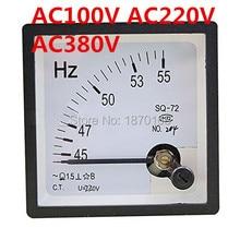 цена на SQ-72 45-55HZ AC 100V 220V 380V SQ72 Arabic Numerals 45-55Hz HERTZ Frequency Panel Meter AC 220V
