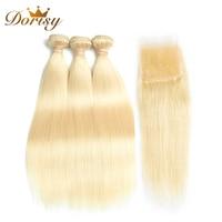 Dorisy Hair 4 Pcs 613 Blonde Brazilian Hair Weave Bundles 100% Human Hair Bundles With Closure Straight Remy Hair Extension