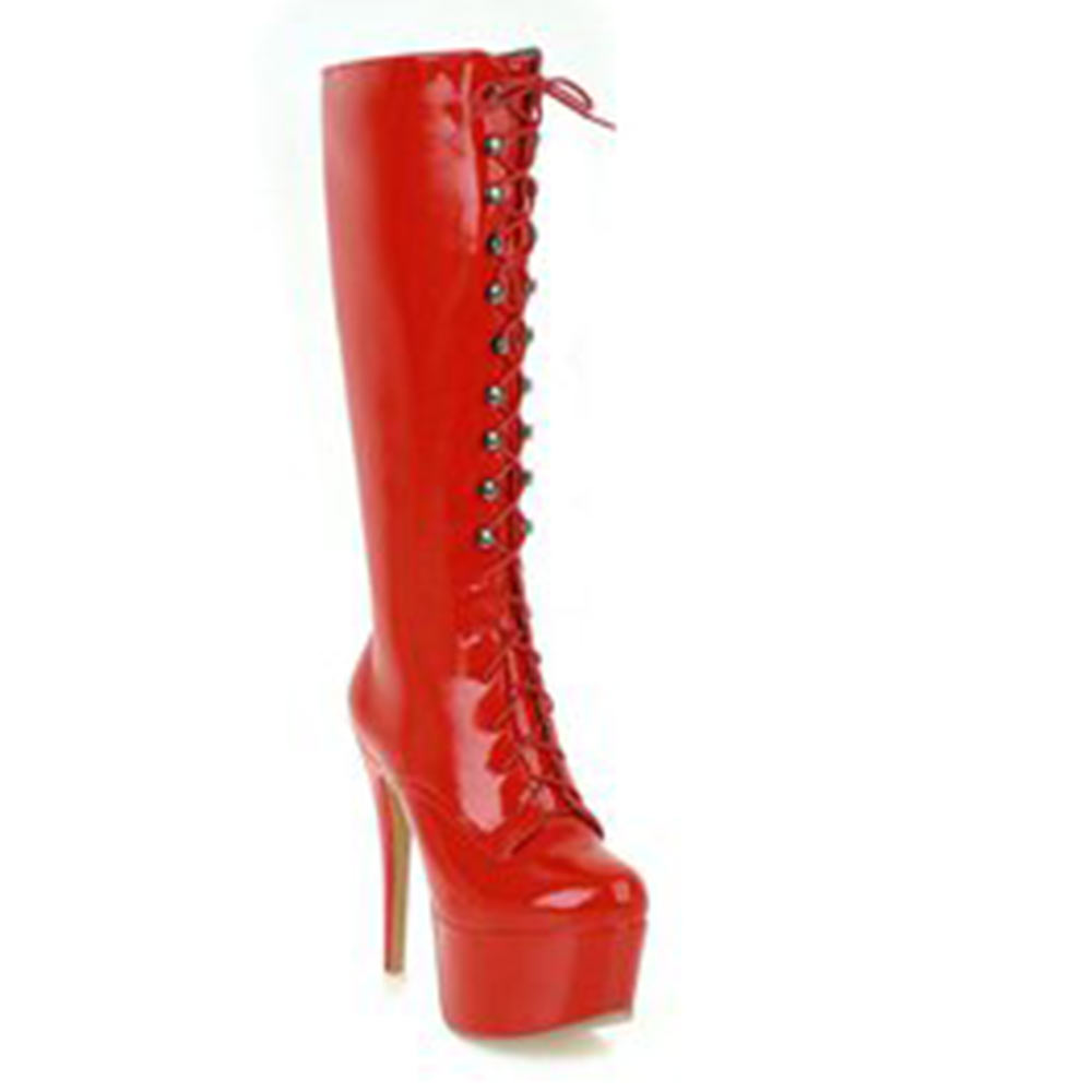 Lasyarrow Sexy Women s Boots Black Red Patent Leather Shoes Woman Women s  Stiletto Boots Lace Up Thin High Heels Botas Feminina d01c6d5d6a44