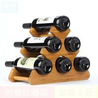 6 Bottles Bamboo Red Wine Holders Creative Wine Rack Display Shelf Household Living Room Wine Bottle Rack Desktop Decoration