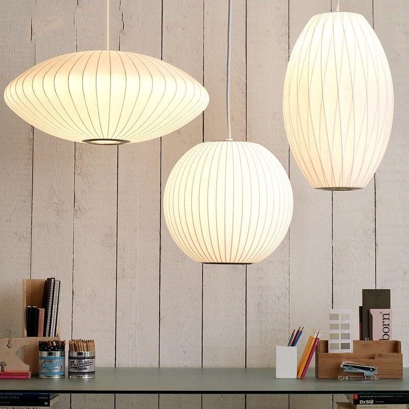 Livraison gratuite lampe blanche boule de soie pendentif lumière blanche réplique E27 soie pendentif lumières suspension lampe pendentif éclairage