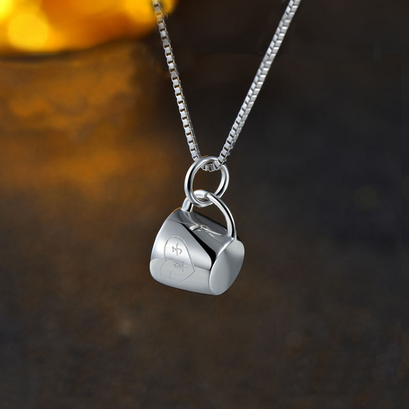 Forever Chinese Letters Cup Glass 925 Sterling Silver Pendant