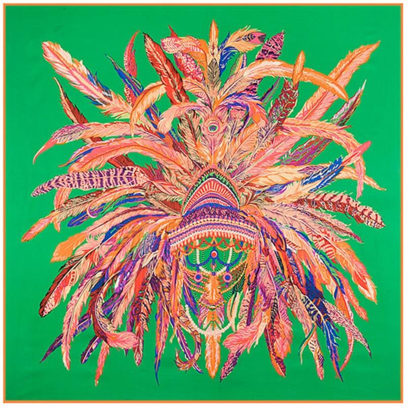 Nová šála hedvábné dámské šály 130 * 130 cm design indická peří koruna tisk náměstí šátky vysoce kvalitní dárek velký módní šály
