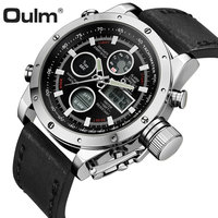 OULM Fashion Sports Dual Time Watch Men Digital Back Light Display Chronograph Alarm Multifunction Waterproof Wrist Watches Man