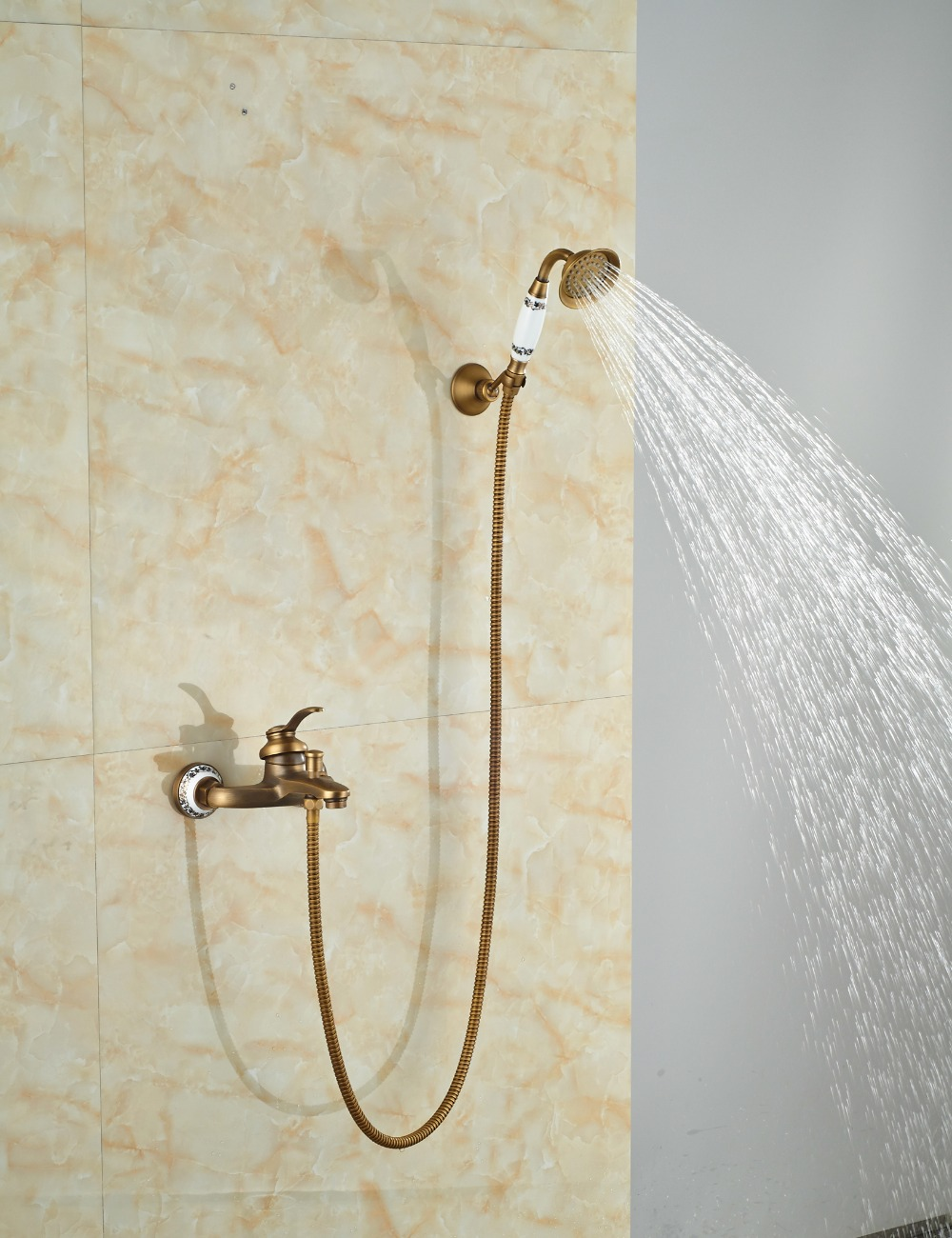 Multi-style Antique Brass Bathroom Tub Shower Faucet Wall Mounted Shower Mixer Tap W/ Hand Shower antique brass telephone style handheld shower head dual handles bath tub mixer tap wall mounted bathroom faucet wtf312