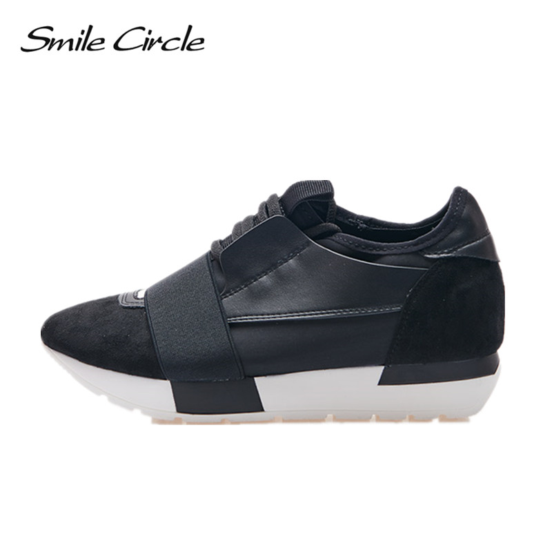 Smile Circle Spring Autumn Shoes Women Fashion Pointed toe Lace-up Sneakers For Women Flat Casual Platform Shoes tenis feminino xiaying smile new spring autumn women pumps british style fashion casual lace shoes square heel pointed toe canvas rubber shoes