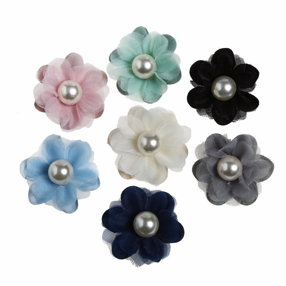 10pcs/lot 7Colors Small Simulation Chiffon Flower with Pearl in Central Infant Hair Accessories For Headband Kidocheese