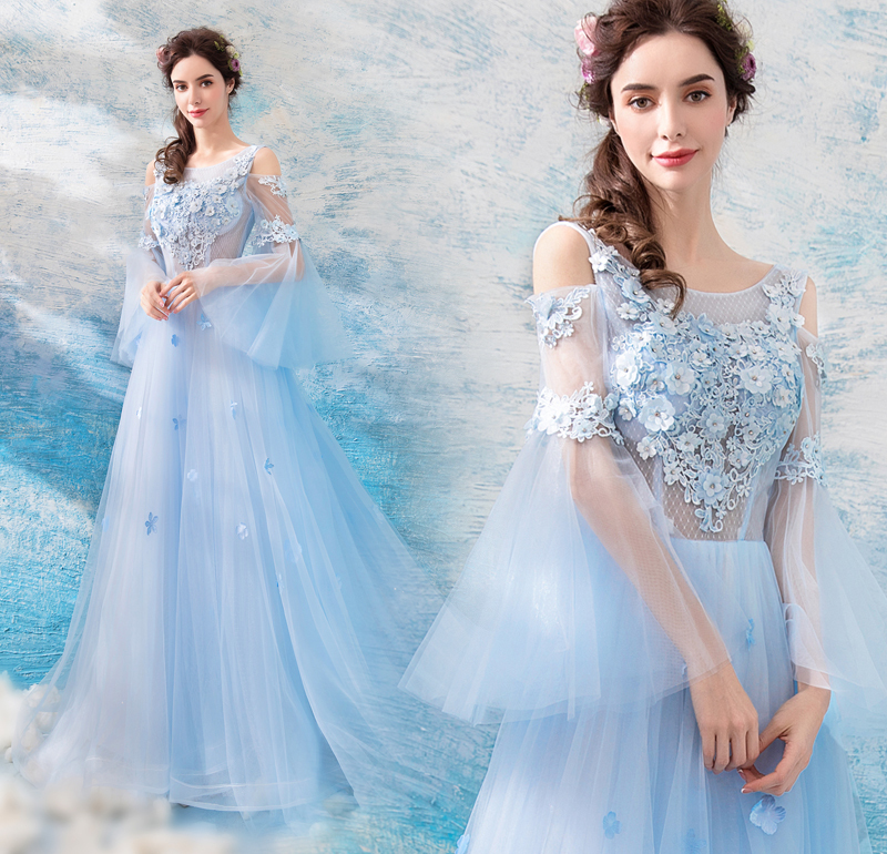 9c4c2e31f0 US $123.98 5% OFF|Backlakegirls Beautiful Baby Blue Illsuion Lace Evening  Dress Elegant Embroidery Flowers Court Train Evening Gown 2018 Hot Sale-in  ...