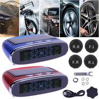 LCD USB de la Energía Solar Coche TPMS Monitor de Presión de Los Neumáticos en Tiempo Real Mini sistema de Explosiones de Dispositivos de Alarma w/4 Sensor Accesorio Auto