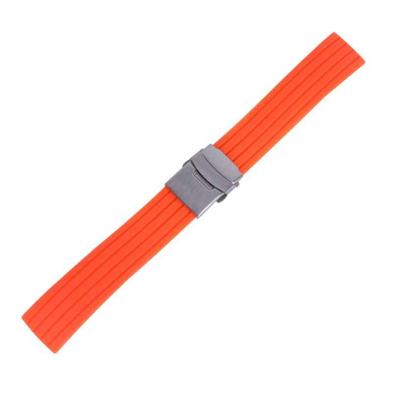 실리콘 고무 시계 스트랩 밴드 배포 버클 방수 시계 밴드 16mm,18mm, 20mm, 22mm, 24mm 유니섹스 시계 액세서리