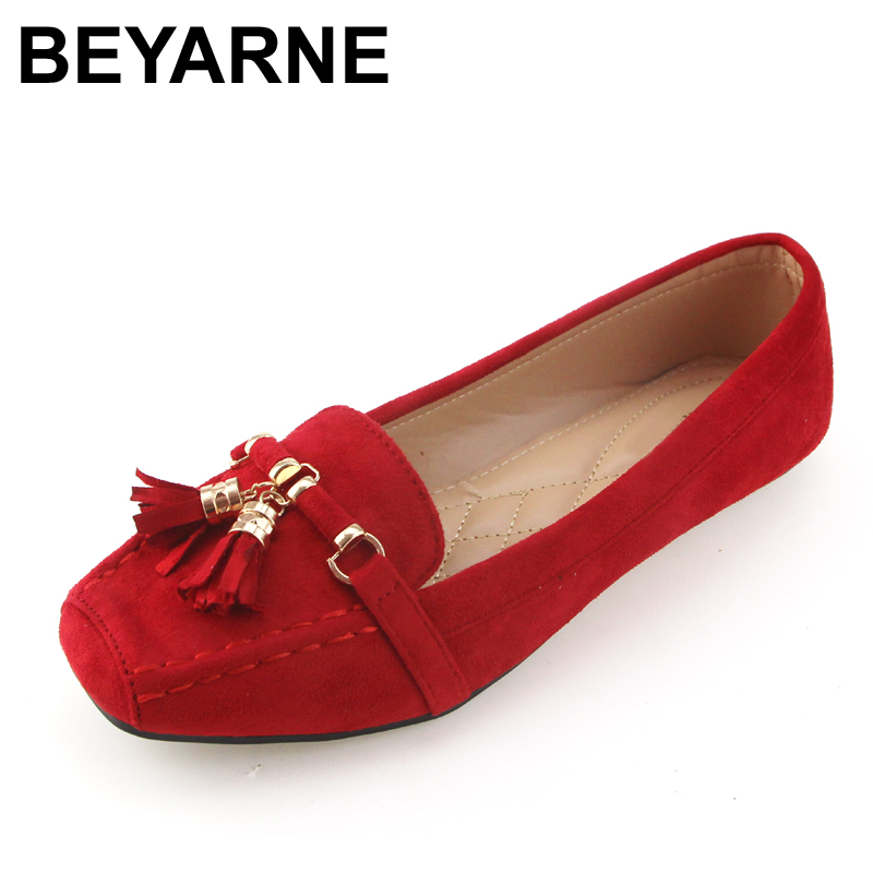 Beyarne Brand Spring Women Shoes Flats Leather
