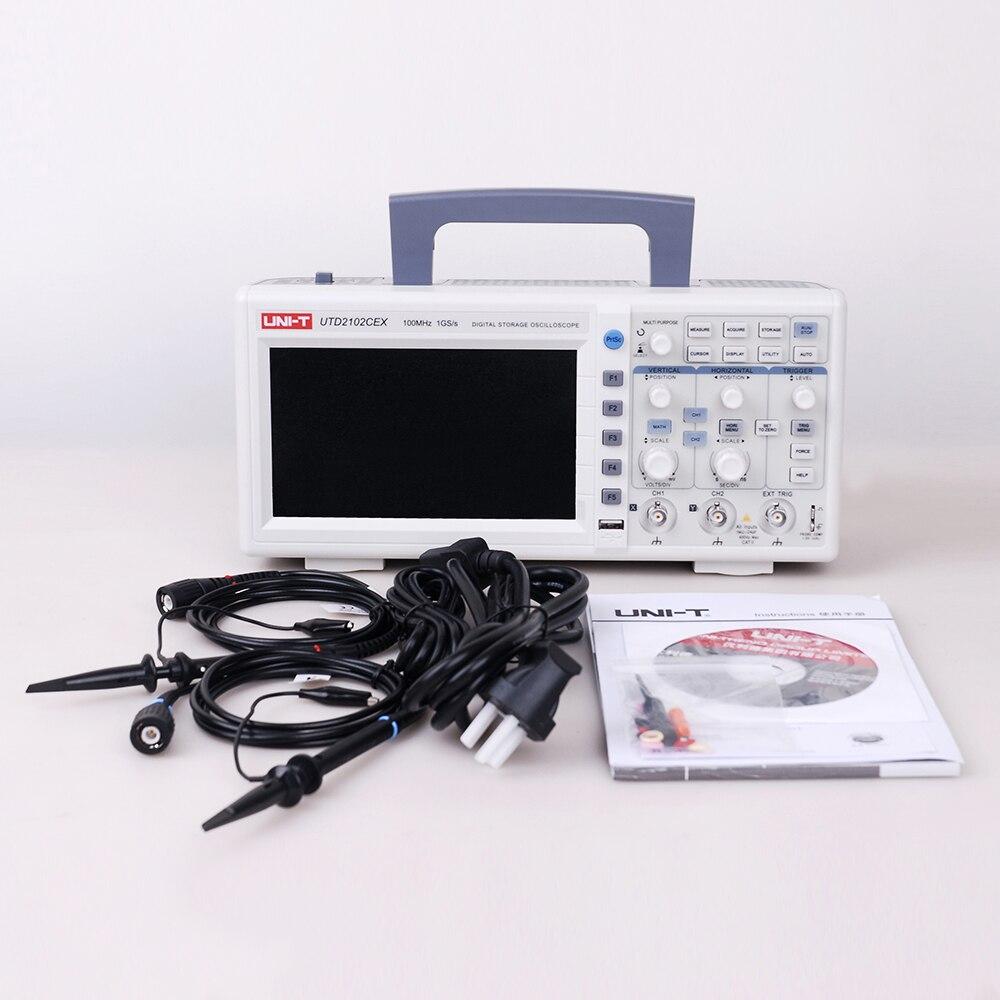 UNI T UTD2102CEX 100MHZ Digital Storage Oscilloscope 7 Inch LCD 1GS S 2Channels