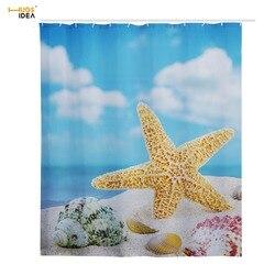 HUGSIDEA kreatywny Art Design łazienka akcesoria morze rozgwiazda 3D wzór tkanina poliestrowa zasłona prysznicowa z 12 sztuk haki w Zasłony prysznicowe od Dom i ogród na