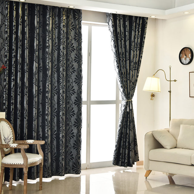 Free Shipping Room Curtains Ready Home Blinds Window Panel Treatments Green Living Modern Drapes New European Black