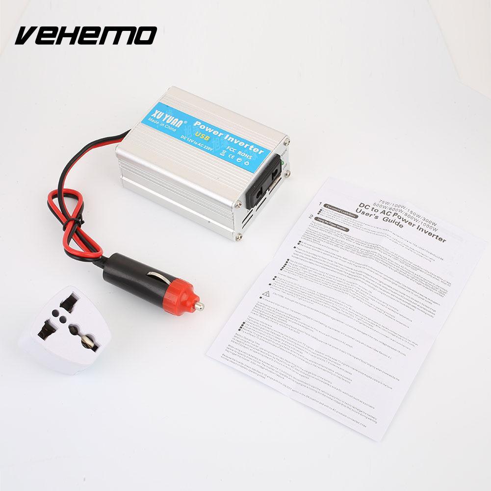 Vehemo 200w Car Vehicle Solar Power Supply Inverter Converter 100w 12v Dc To 220v Ac 1 X 110v English Manual Adapter