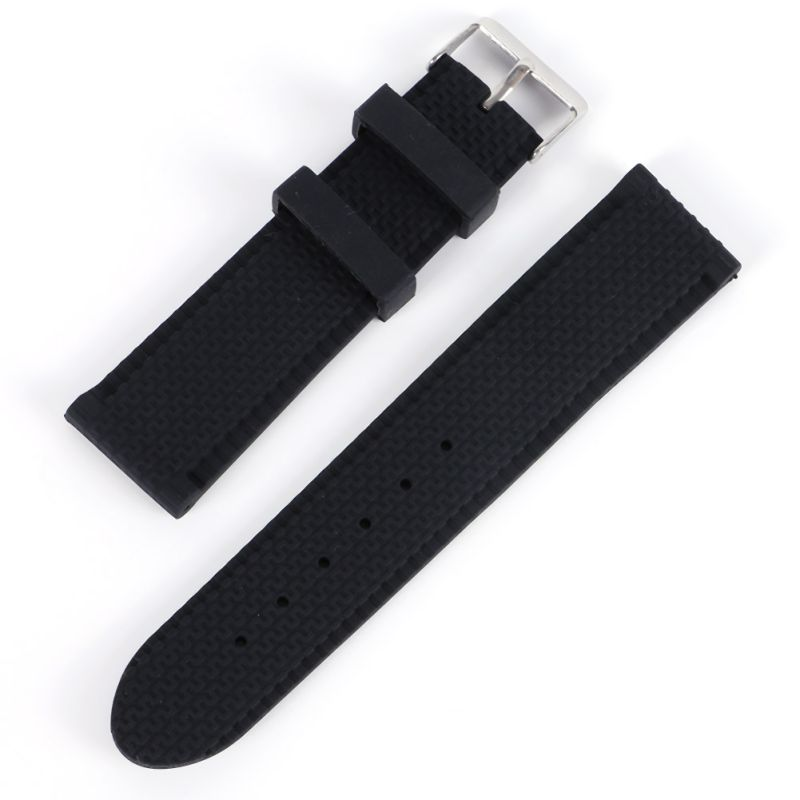 Newest Fashion Men Casual Watch Band Soft Silicone Rubber Waterproof Wrist Watch Band Strap 18-24mm Black carlywet 24mm hot sell newest camo waterproof silicone rubber replacement wrist watch band strap belt for panerai luminor