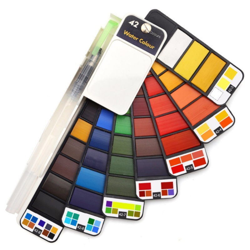 18/25/33/42 Solid Watercolor Paint Set With Water Brush Pen Foldable Travel Water Color Pigment For Draw