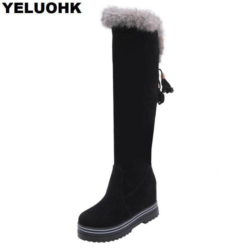 Peluche chaud genou bottes hautes femmes chaussures décontracté plate-forme chaussures bottes d'hiver femmes bottes talons hauts confortable femmes chaussures