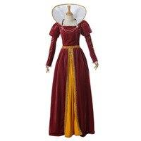 Вентилятор воротник Виктория бальное платье средневековой эпохи Возрождения Queen костюм Винтаж готический платье для карнавала Хэллоуин