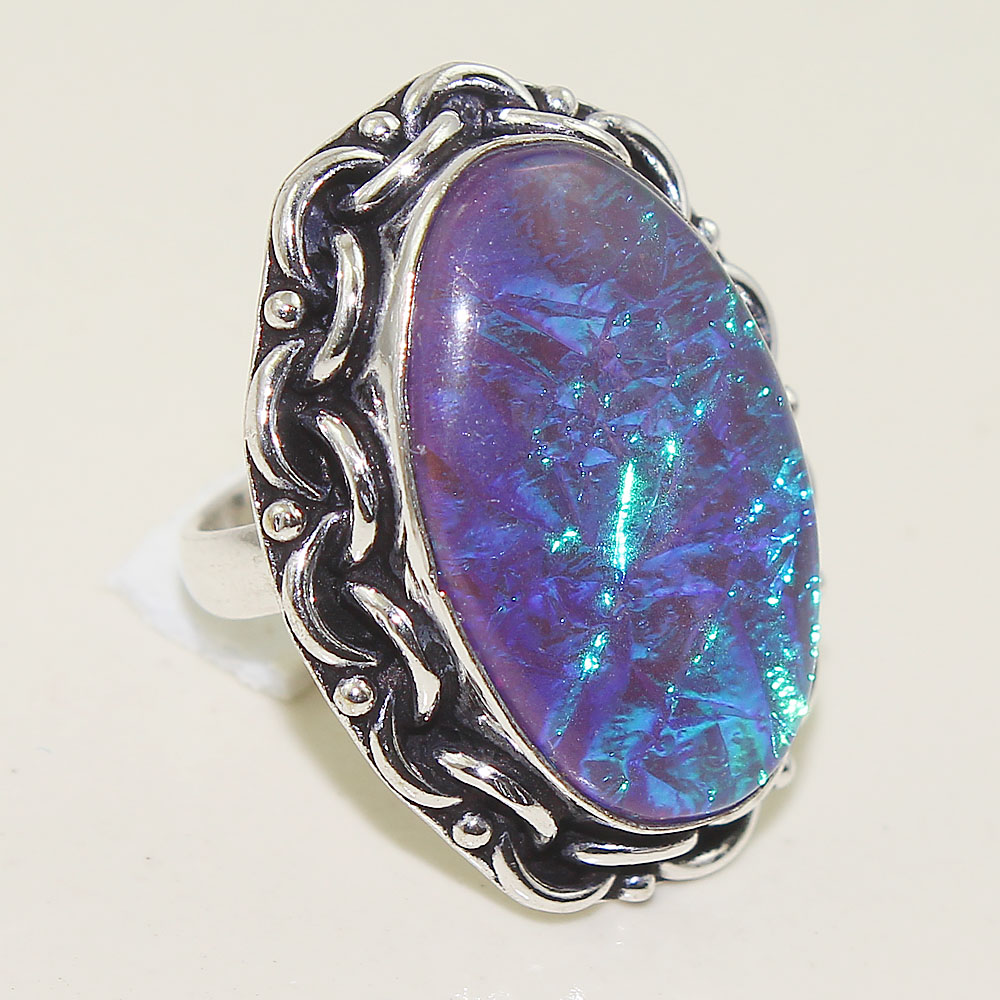 Dichroic Glass Ring Silver Overlay over Copper Size 7 25 R2022 in Rings from Jewelry Accessories