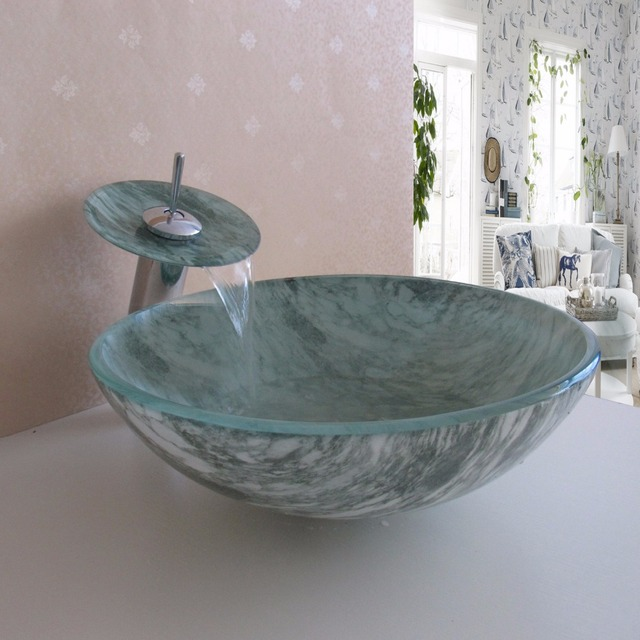 Promotion New Arrival Modern Pastoral Marble Round Tempered Glass Bathroom  Wash Basin Sink Bowl with Faucet