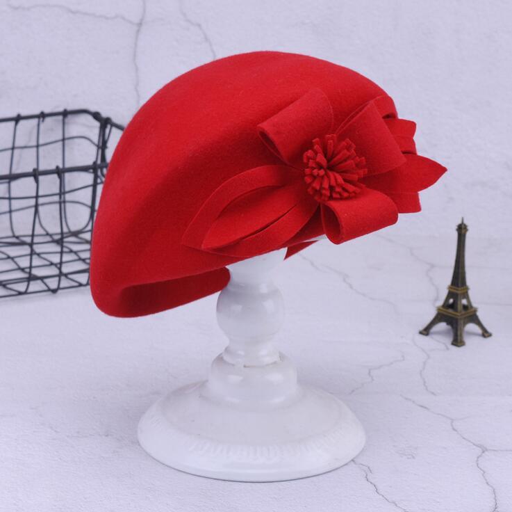 1b3d6f431f1661 100% wool beret winter berets women winter felt beret Floral Women Felt  French Beret Beanie