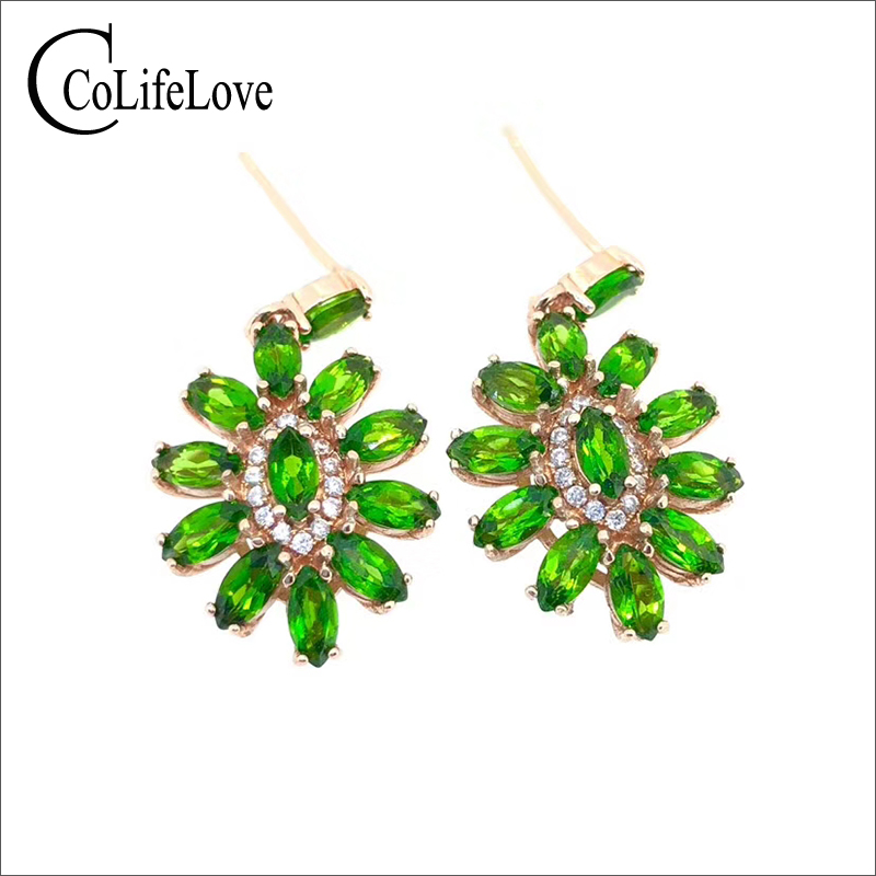 100% natural diopside drop earrings for party 24 pcs 2mm*4mm marquise cut diopside silver earrings 925 silver diopside jewelry