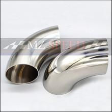 51 мм 57 мм 63 мм 76 мм OD санитарная стыковая сварка 90 градусов колено изгиб трубы 304 нержавеющая сталь выхлопная труба глушитель сварная труба