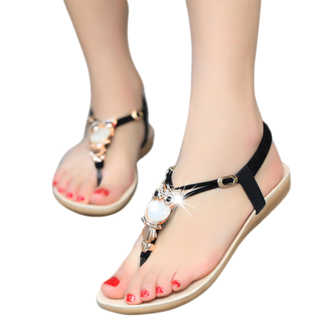New Fashion 2017 Casual Women  Sandals Comfort  Summer shoes Classic Rhinestone Flat Sandslias Feminina BS14