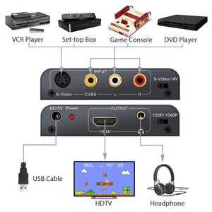 Image 2 - Neoteck Alloy AV Composite S Video to HDMI With 3.5mm Audio Converter Upscaler 720P/ 1080P for NES N64 Sega Genesis PS2 PS3