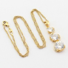 Gold Color Jewelry Sets For Women Party, White Cubic Zirconia Bracelet Earrings Necklace Pendant Rings