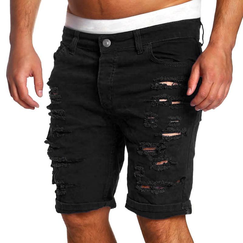 2 017 брендовые черные Рваные джинсы Для мужчин короткие байкерские джинсы летние Повсед ...