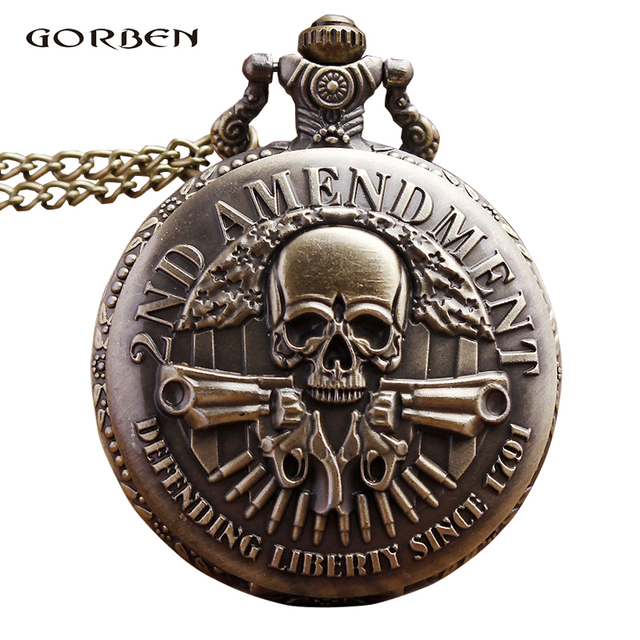 History LIBERTY Engraving Skull Steampunk Antique Pocket Watch necklace Chain Pe